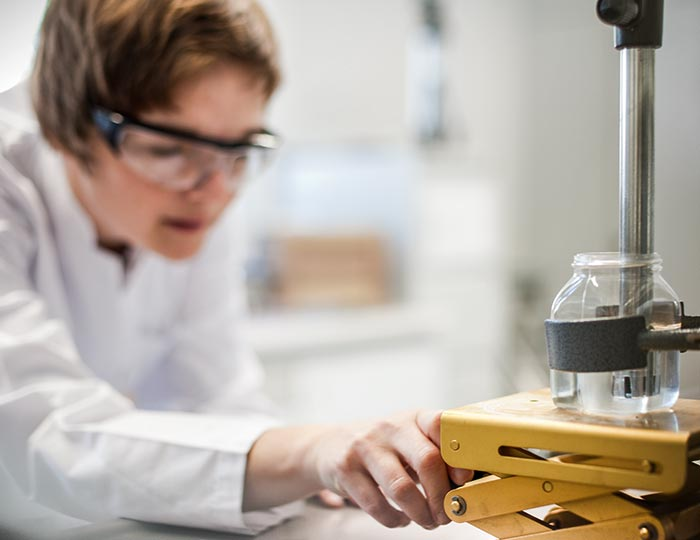 scientist testing a product